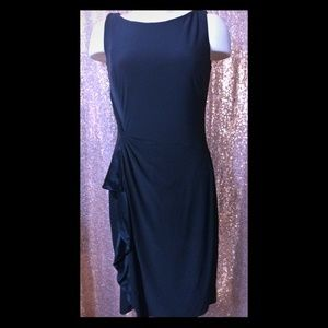 Ralph Lauren sleeveless ruffle trim black dress 6